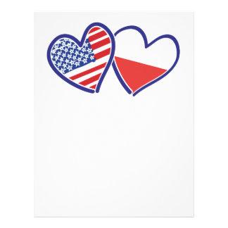 USA Poland Flag Hearts Letterhead