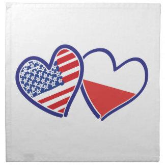 USA Poland Flag Hearts Napkin