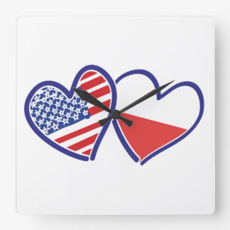 USA Poland Flag Hearts Square Wall Clock