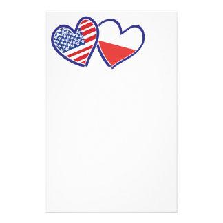USA Poland Flag Hearts Stationery