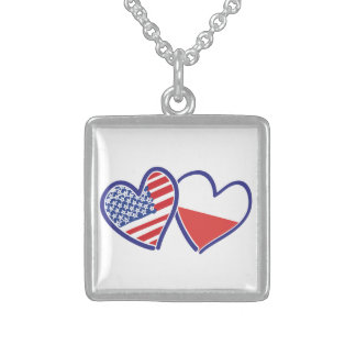 USA Poland Flag Hearts Sterling Silver Necklace