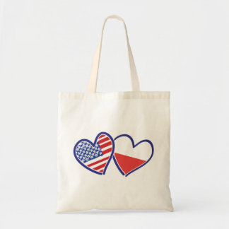 USA Poland Flag Hearts Tote Bag