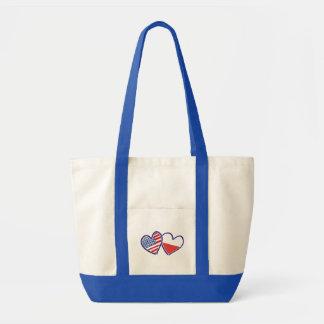 USA Poland Flag Hearts Tote Bag
