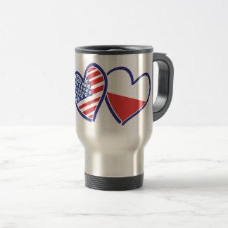 USA Poland Flag Hearts Travel Mug