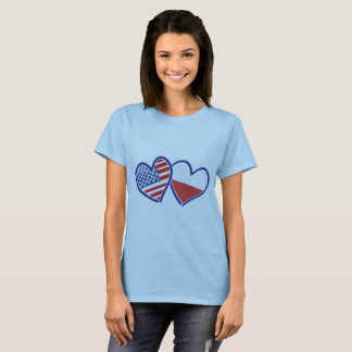 USA Poland Heart Flags T-Shirt