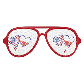 USA-POLISH-FLAG-HEARTS AVIATOR SUNGLASSES