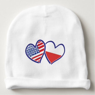USA-POLISH-FLAG-HEARTS BABY BEANIE