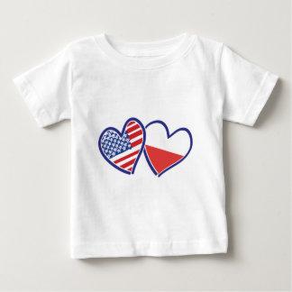 USA-POLISH-FLAG-HEARTS BABY T-Shirt