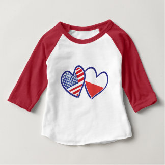 USA-POLISH-FLAG-HEARTS BABY T-Shirt