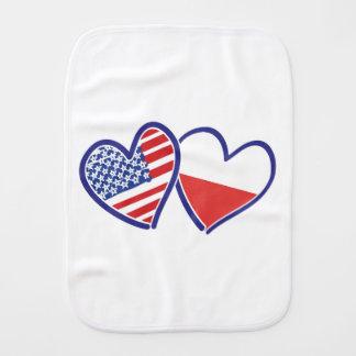 USA-POLISH-FLAG-HEARTS BURP CLOTHS