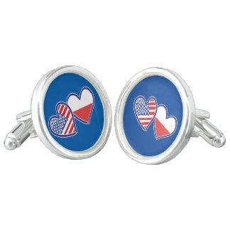 USA-POLISH-FLAG-HEARTS CUFF LINKS