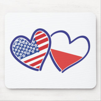 USA-POLISH-FLAG-HEARTS MOUSE PAD