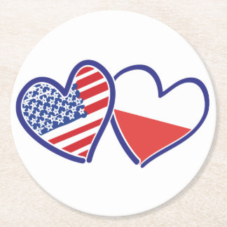 USA-POLISH-FLAG-HEARTS ROUND PAPER COASTER