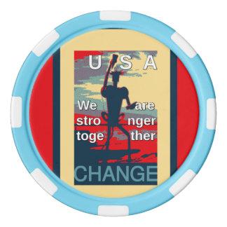 USA President Hillary Baby Blue Striped Edge Set Of Poker Chips