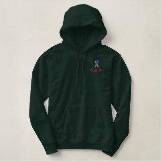 USA Pride Ribbon Embroidered Embroidered Hoodie