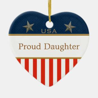 USA Proud Daughter Patriotic Heart Frame Ceramic Ornament