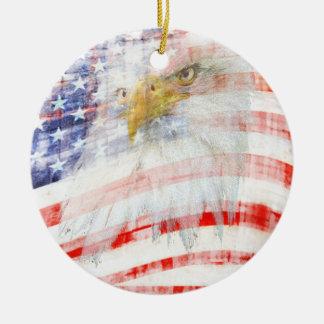 USA Proud Round Ceramic Ornament