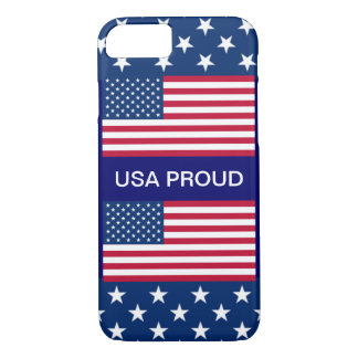 USA PROUD Star Border 2 American Flags Navy Blue iPhone 7 Case