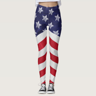 USA red white and blue American flag Leggings