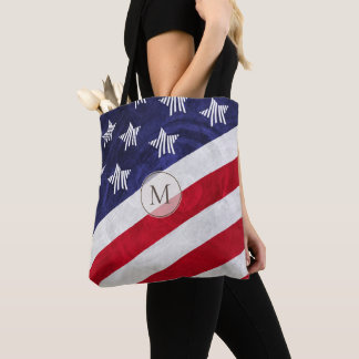 USA red white and blue American flag monogrammed Tote Bag