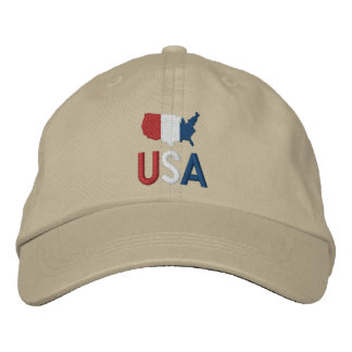 USA Red White and Blue American Patriotism Map Embroidered Hat