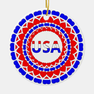 USA.Red White and Blue Hearts Button Ceramic Ornament