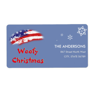 USA Red White Blue Flag Woofy Christmas