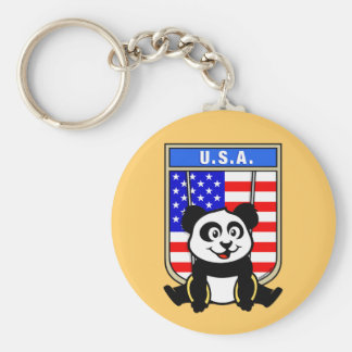 USA Rings Panda Keychain