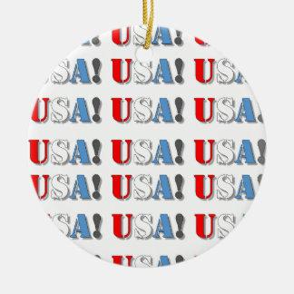 USA! ROUND CERAMIC ORNAMENT