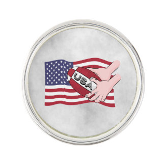 USA Rugby Team Supporters Flag With Ball Lapel Pin
