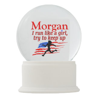 USA RUN LIKE A GIRL PERSONALIZED SNOW GLOBE