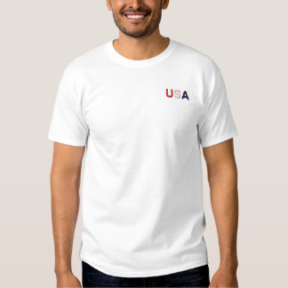 USA RWB Embroidered Classic White Basic T-Shirt