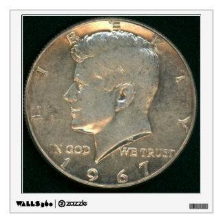 USA Silver Coin Kennedy Half Dollar 1967 - Head Wall Sticker