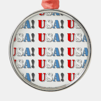 USA! Silver-Colored ROUND ORNAMENT