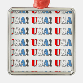 USA! Silver-Colored SQUARE ORNAMENT