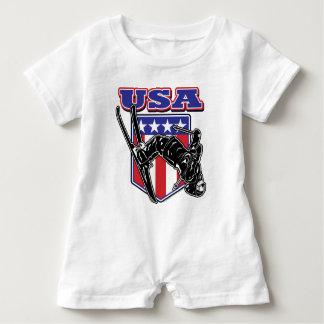 USA-Skier Baby Romper