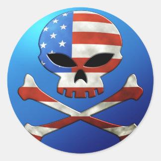 USA Skull Sticker