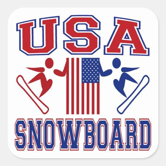 USA Snowboard Square Sticker