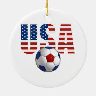 USA Soccer Round Ceramic Ornament