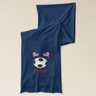 USA Soccer Scarf with Soccer Ball and Flags