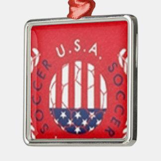 USA Soccer Silver-Colored Square Ornament