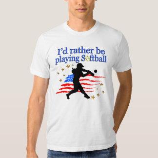 USA SOFTBALL PLAYER LOVES SOFTBALL DESIGN TSHIRTS