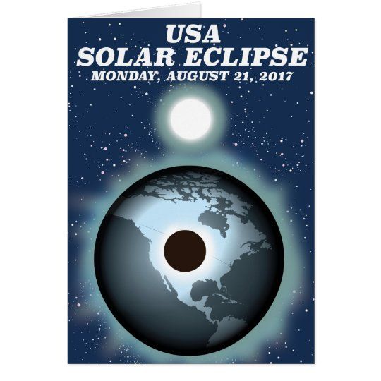 USA Solar Eclipse 2017 vintage poster Card