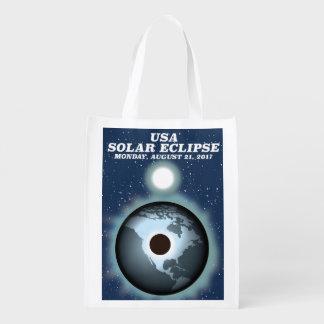 USA Solar Eclipse 2017 vintage poster Reusable Grocery Bag