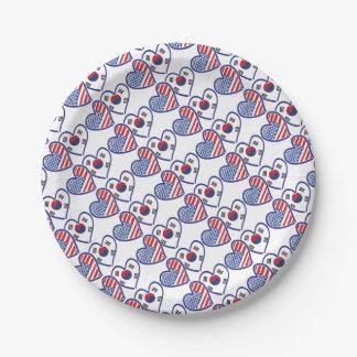 USA South Korea love hearts Paper Plate