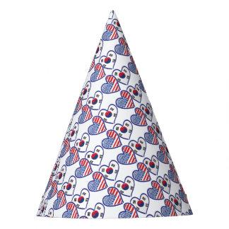 USA South Korea love hearts Party Hat