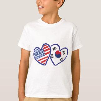 USA South Korea love hearts T-Shirt