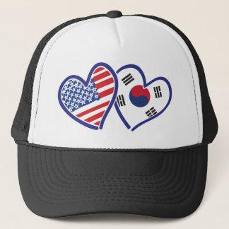 USA South Korea love hearts Trucker Hat