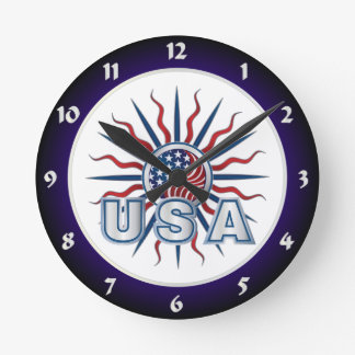 USA Starburst Yin Yang Round Clock