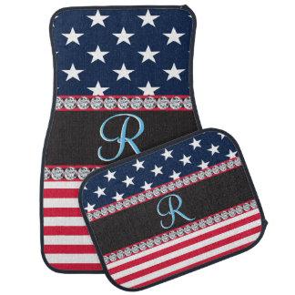 USA Stars and Stripes Diamond 3d Monogram Initial Car Carpet